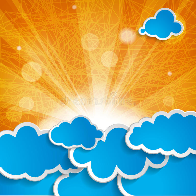 Sun with rays and blue clouds on orange background stock vector download sun with rays and blue clouds on orange background stock vector illustration of glare altavistaventures Images