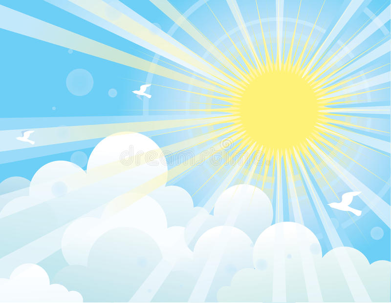 Sun rays and blue sky.NAture vector illustration