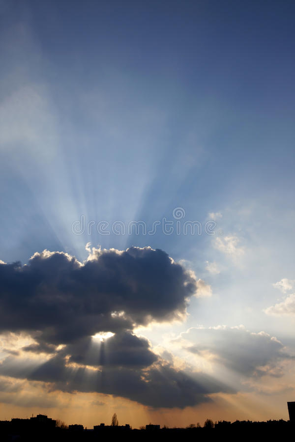 Download Sun rays and clouds stock image. Image of grey, blue - 19059983