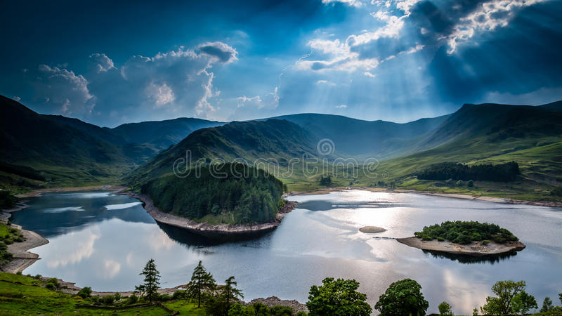 Sun rays on Haweswater. The Lake District, Cumbria, England stock photo