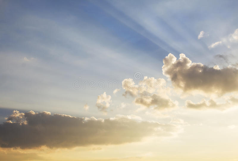 Sun rays of light through clouds stock images
