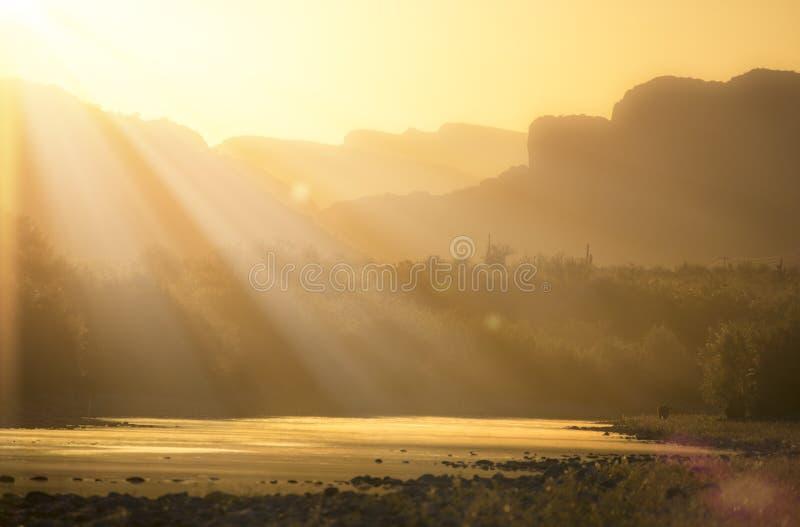 Sun Rays over Salt River in Arizona royalty free stock image