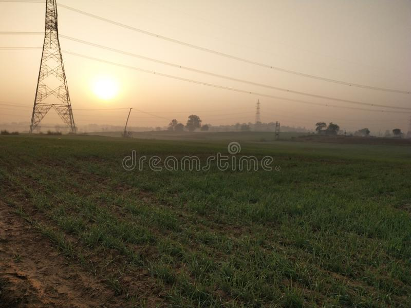 Sun rays. Rising of sun stock images