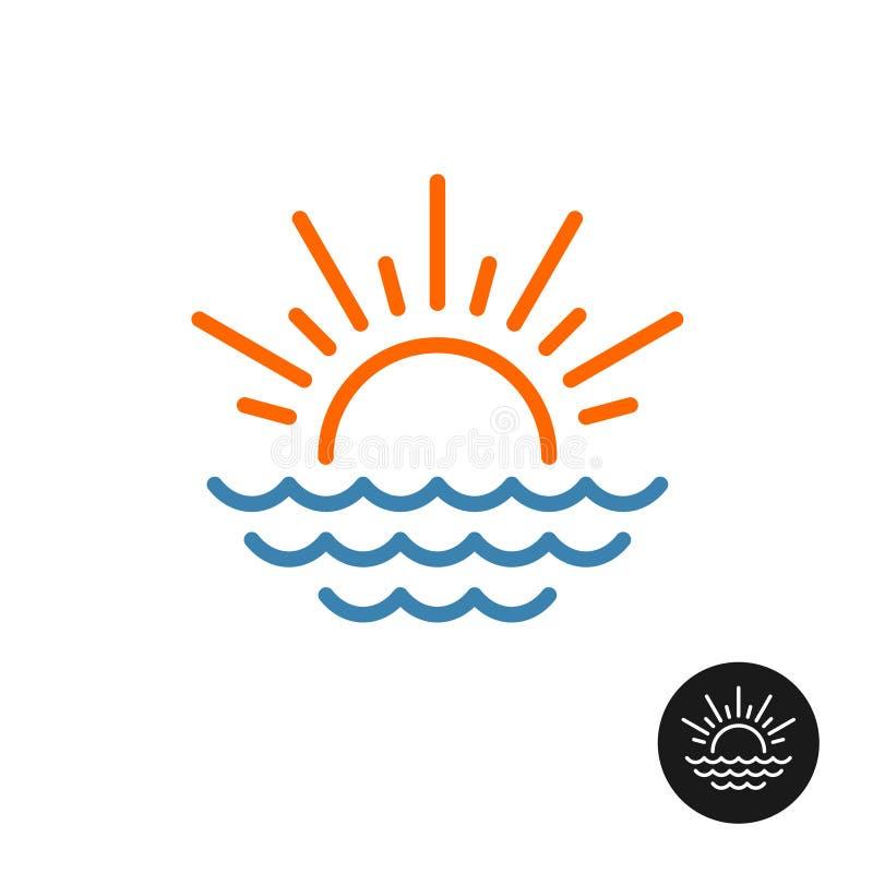 Sun rays and sea waves logo. vector illustration