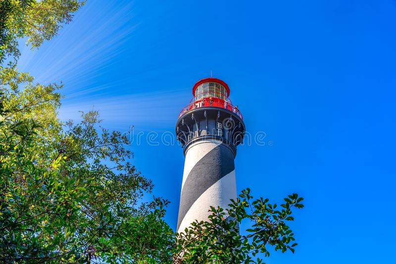 Sun rays shining on old Lighthouse in Saint Augustine royalty free stock photos