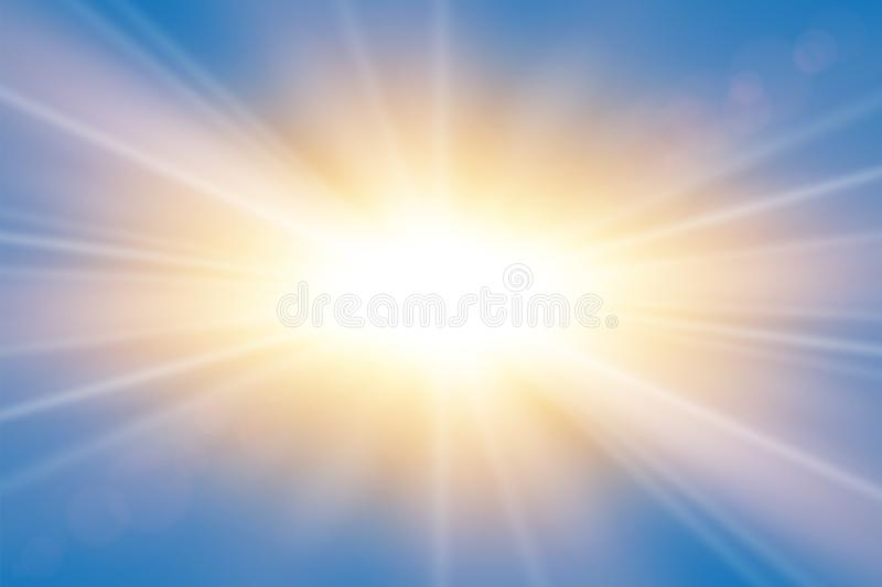 Sun rays. Starburst bright effect, isolated on blue background. Gold light star flash. Abstract shine beams. Vibrant stock illustration