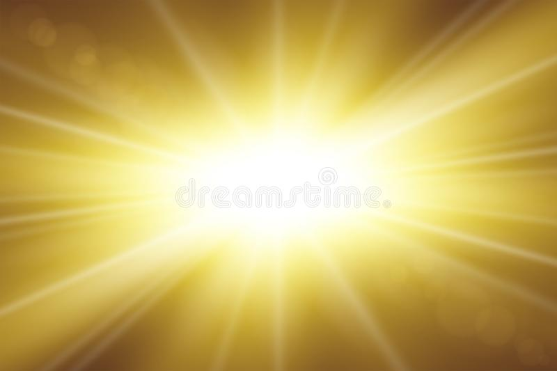 Sun rays. Starburst bright effect, isolated on gold background. Gold light star flash. Abstract shine beams. Vibrant royalty free illustration