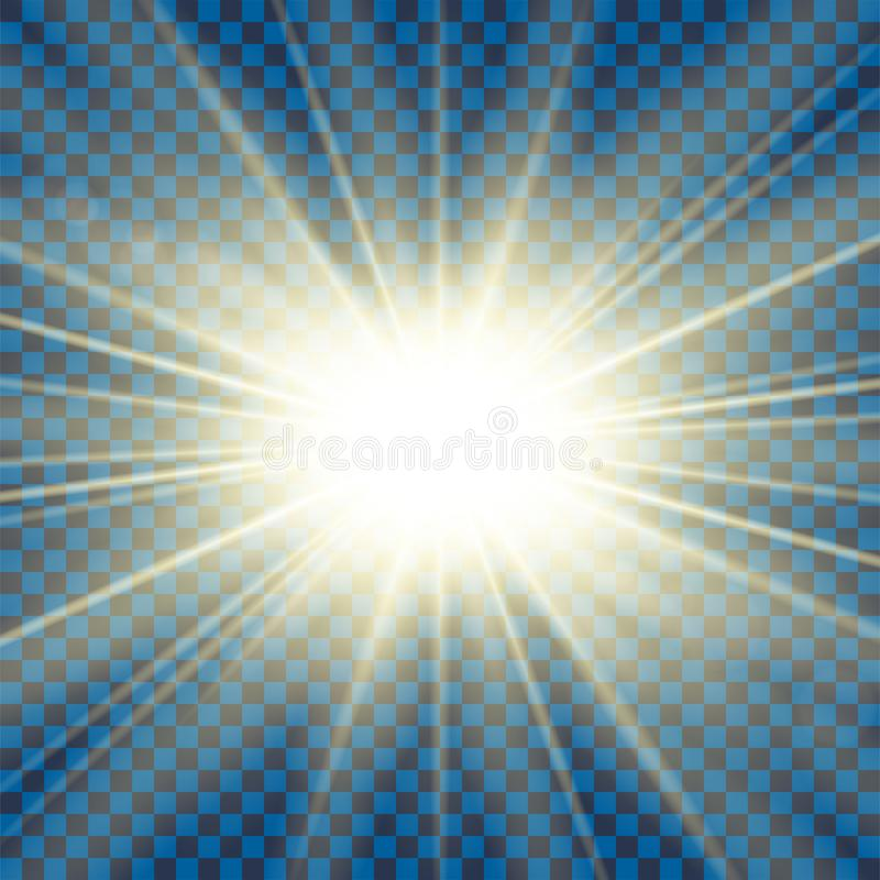 Sun rays. Starburst bright effect, isolated on transparent background. Gold light star flash. Abstract shine beams vector illustration