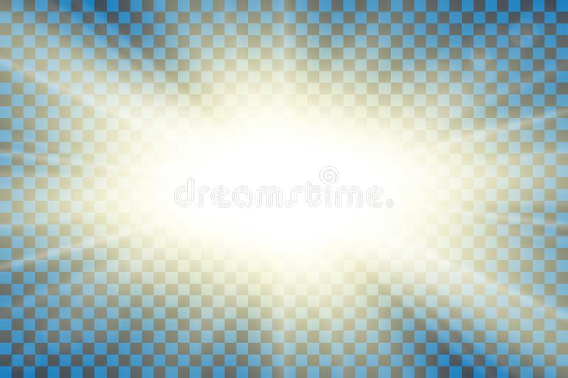 Sun rays. Starburst bright effect, isolated on transparent background. Gold light star flash. Abstract shine beams royalty free illustration