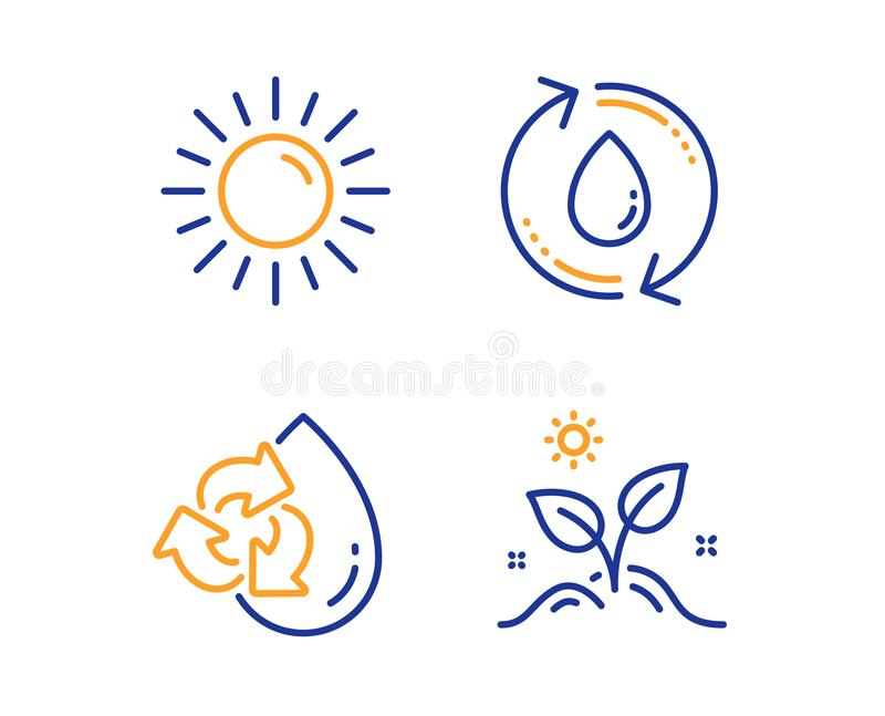 Sun, Recycle water and Refill water icons set. Grow plant sign. Summer, Refill aqua, Recycle aqua. Leaves. Vector. Sun, Recycle water and Refill water icons royalty free illustration