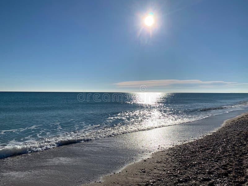 Sun reflect on Palavas beach. Sun reflect on the sea at Palavas beach in south of France stock photography