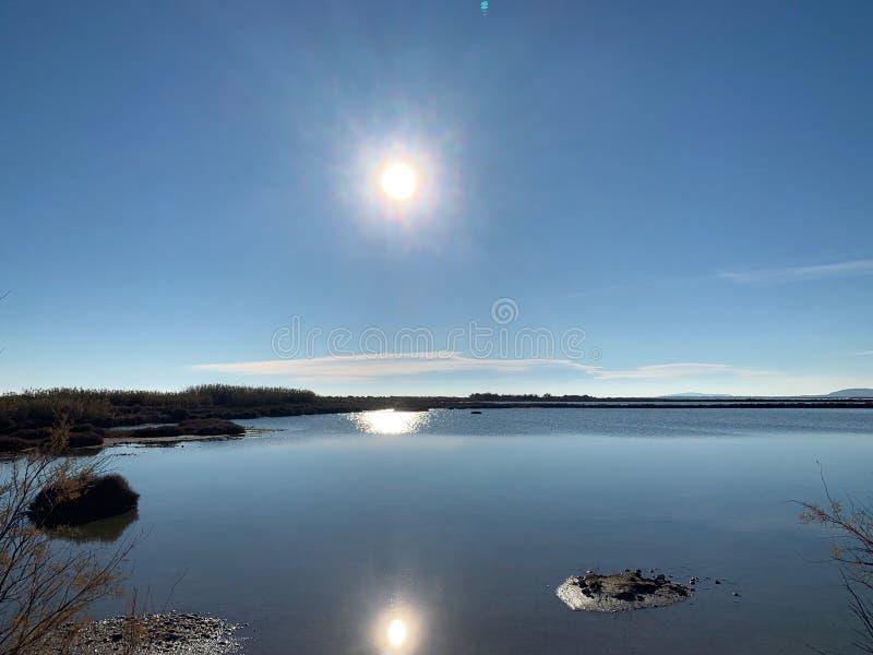 Sun reflect on water near Palavas. Sun reflect on water between pond and sea near Palavas in France stock photography