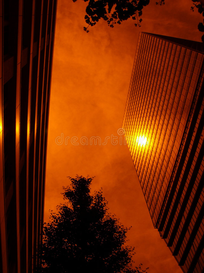 Sun-reflection from up-stairs building royalty free stock photos