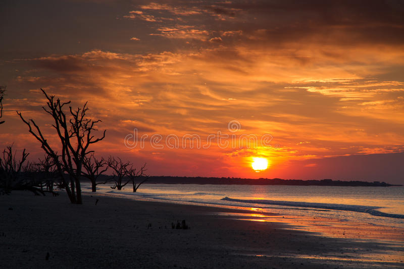 Sun rise at botany bay. In SC USA stock photos