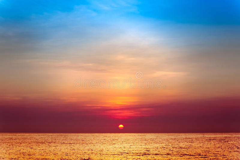 Sun rise on the sea. In the morning stock image