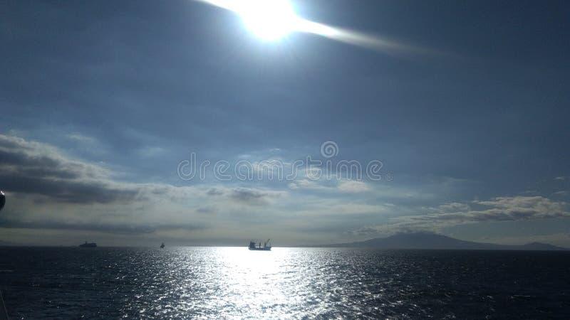 Sun rise sea voyage trip stock photo
