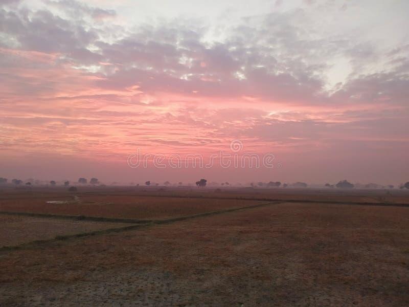Sun Risen Scenery in Indian village stock photo