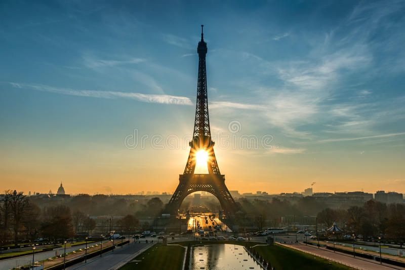 Sun rises in the Eiffel Tower. Paris France stock photography