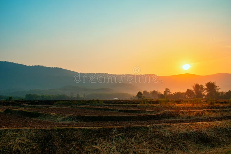 The sun rises in the morning of the new day stock images