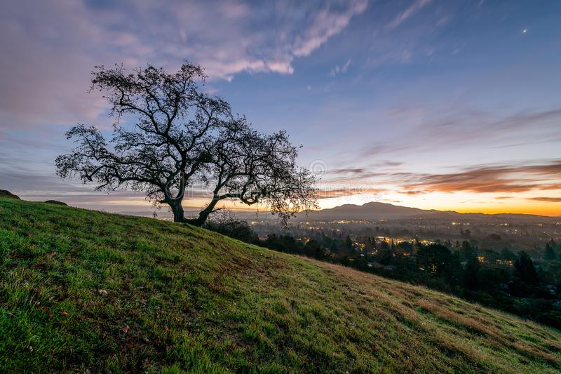 Sunrise over Mount Diablo and the East Bay. The sun rises over Mount Diablo, a geographic landmark to California`s East Bay royalty free stock images