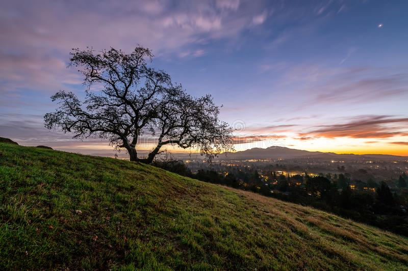 Sunrise over Mount Diablo and the East Bay. The sun rises over Mount Diablo, a geographic landmark to California`s East Bay royalty free stock image