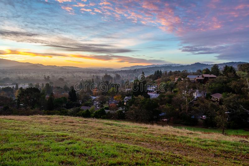 Sunrise over Mount Diablo and the East Bay. The sun rises over Mount Diablo, a geographic landmark to California`s East Bay stock photos