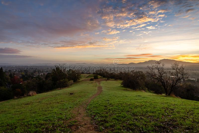Sunrise over Mount Diablo and the East Bay. The sun rises over Mount Diablo, a geographic landmark to California`s East Bay royalty free stock photos