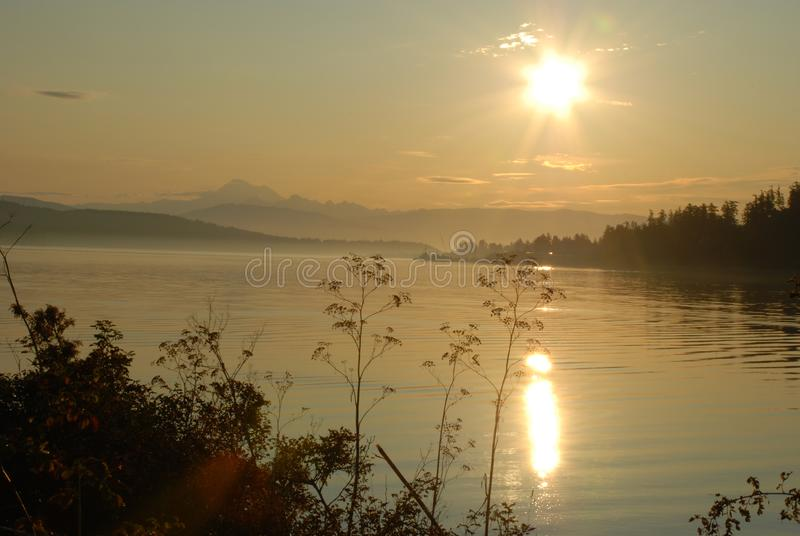 Misty Sunrise at the Port of Anacortes royalty free stock photography