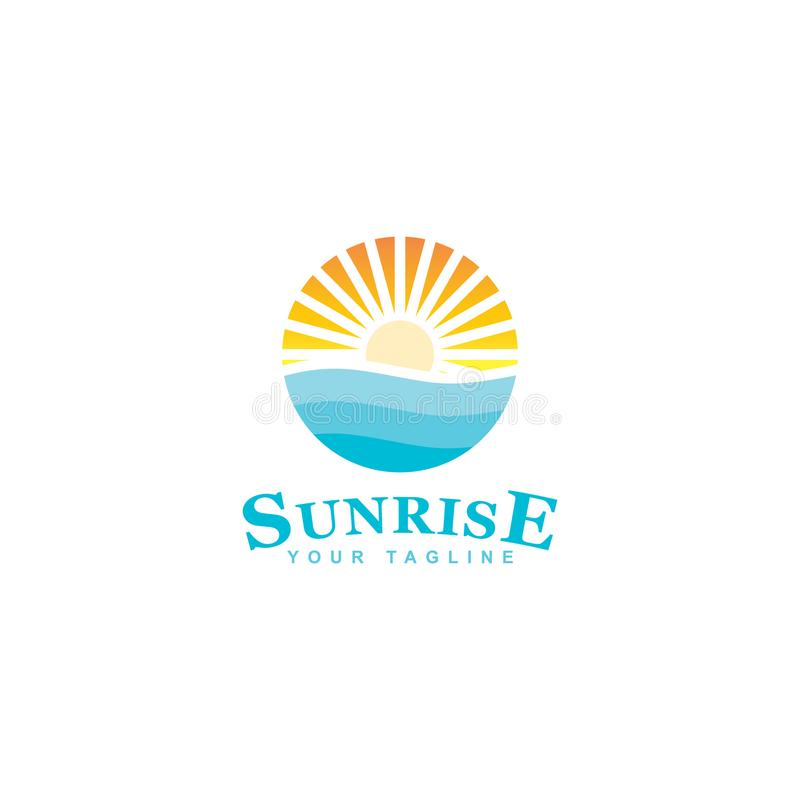 Blue Island Logo Design, Design Beach Circle Theme Stock