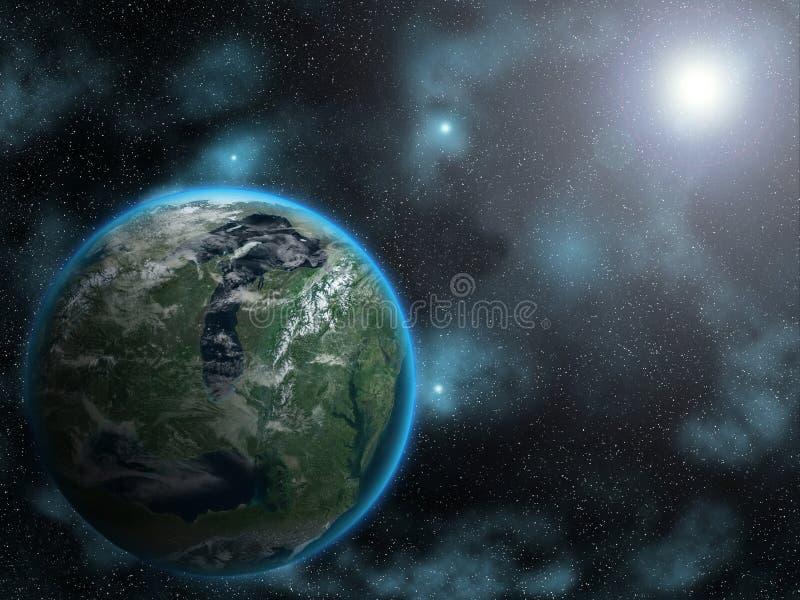 Sun rising on alien planet stock photo