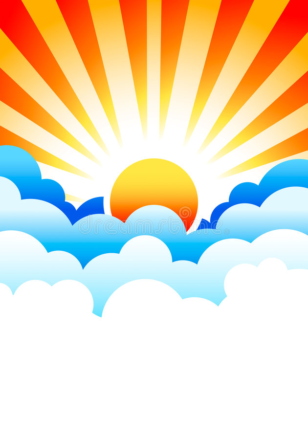 Sun rising in clouds vector illustration