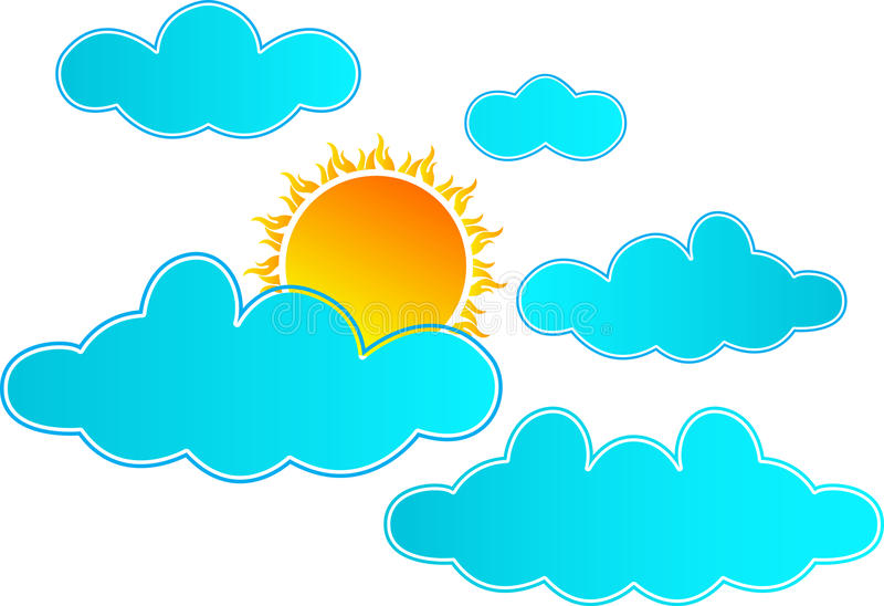 Sun rising in clouds royalty free illustration