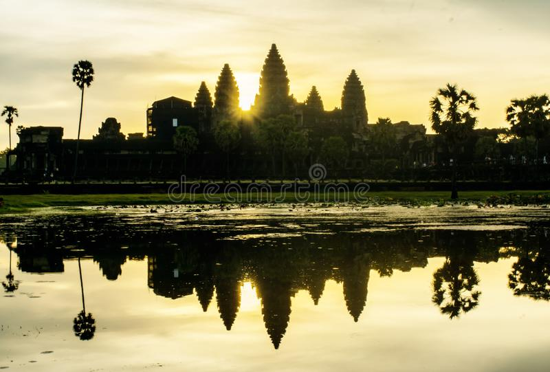 The sun is rising in the morning at Angkor Wat. Siem Reap, Cambodia royalty free stock images
