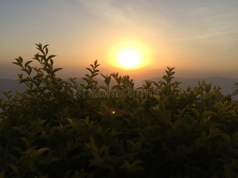 Sun rising natural stock image