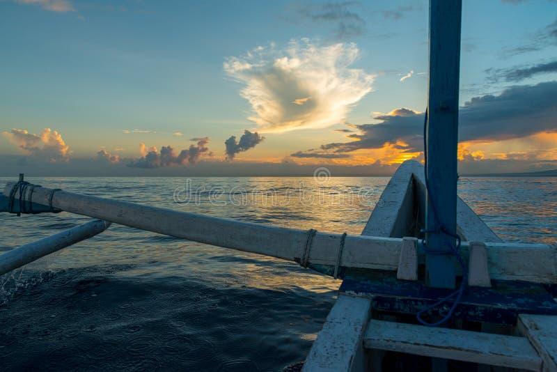 Sun rising ove Pacific ocean stock image
