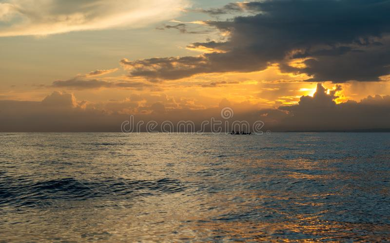 Sun rising ove Pacific ocean royalty free stock photo