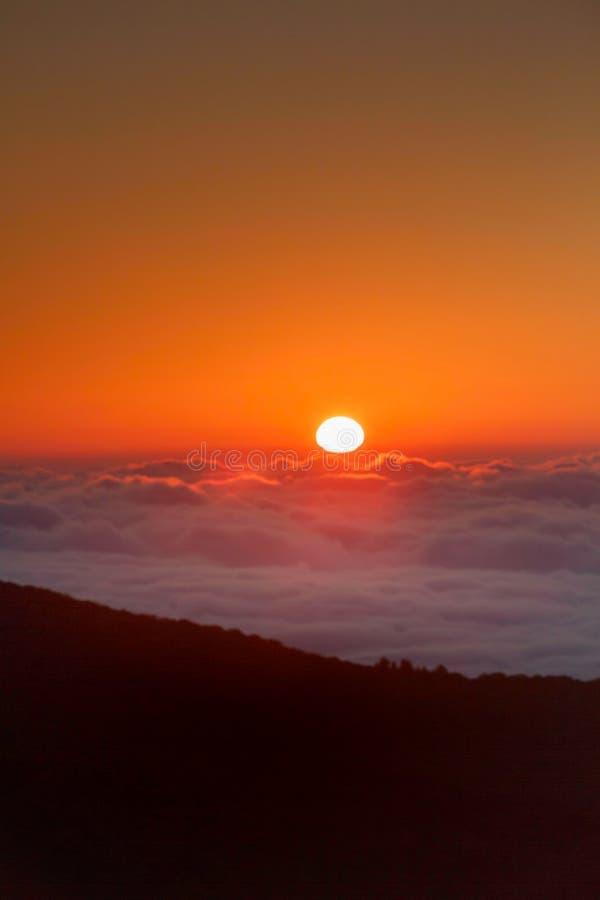 Sun Rising Over Fog North Carolina stock photo