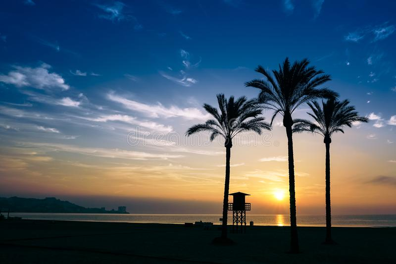 The sun rising over the horizon stock images