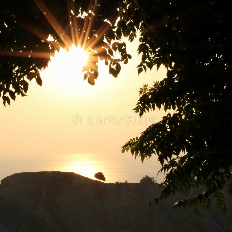 Sun rising. From the sea royalty free stock photo