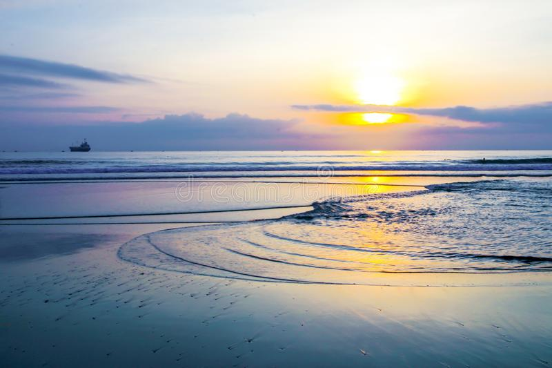The sun rising on the sea - Da Nang stock image