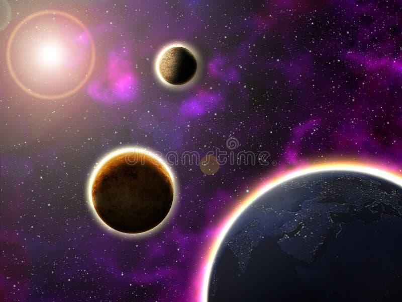 Sun rtęć Wenus i ziemia ilustracji