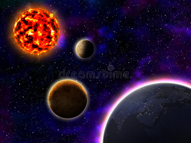 Sun rtęć Wenus i ziemia ilustracja wektor