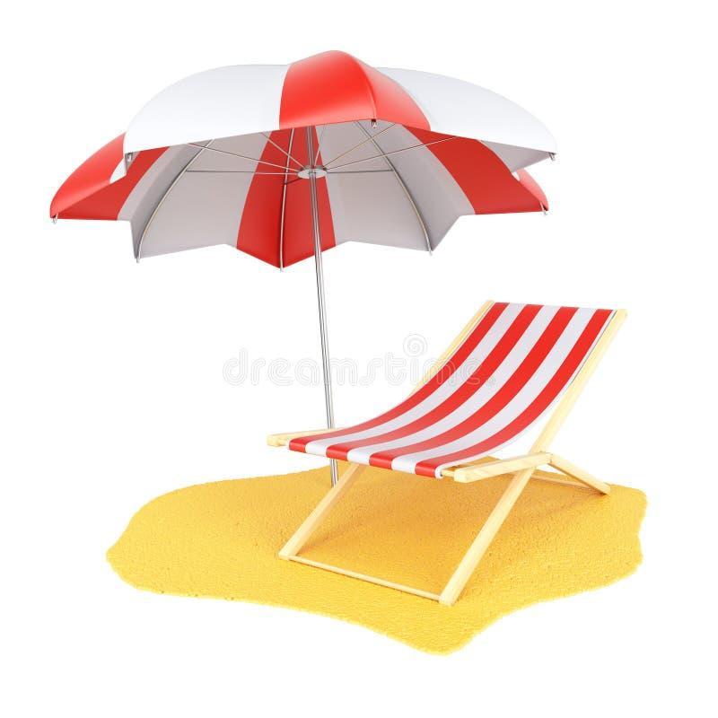 Sun-Ruhesessel und -sonnenschirm stock abbildung
