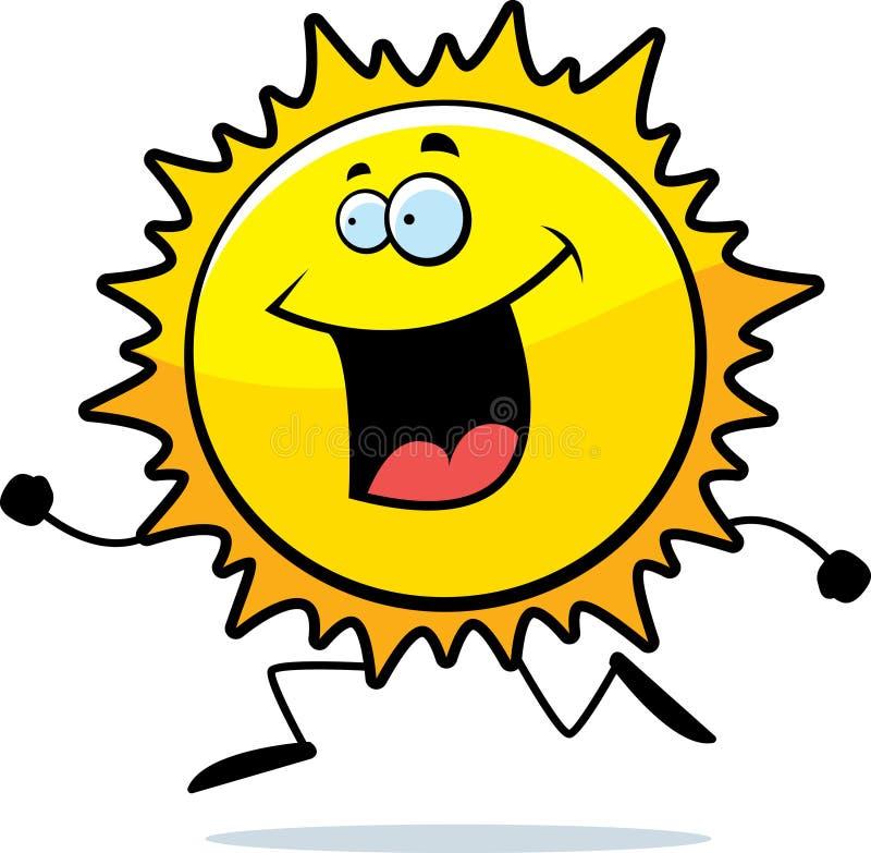 Sun Running. A cartoon Sun running and smiling royalty free illustration
