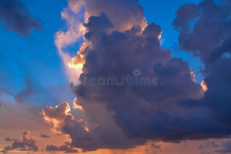 The sun`s dance on a nice cloudy sky at Key West Florida royalty free stock image