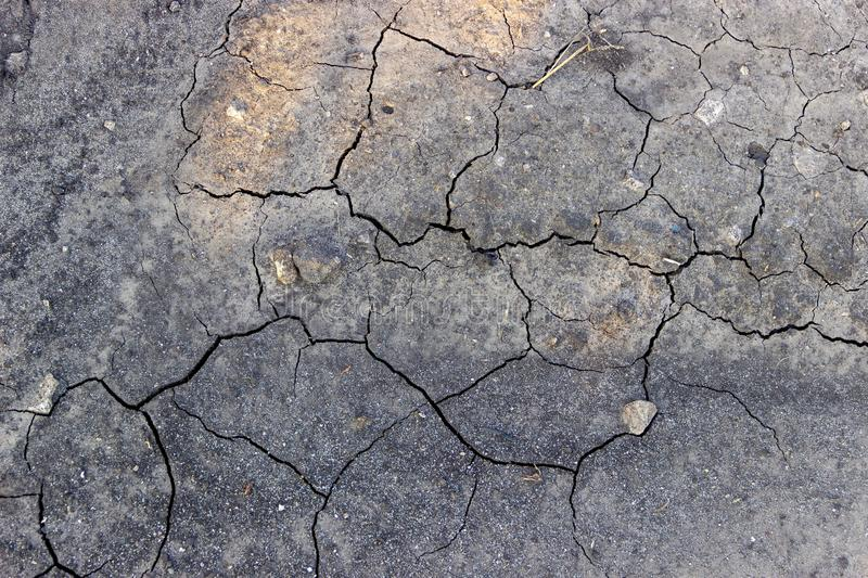 Shrinkage cracks on dry land on which the sun`s rays fall a little royalty free stock images