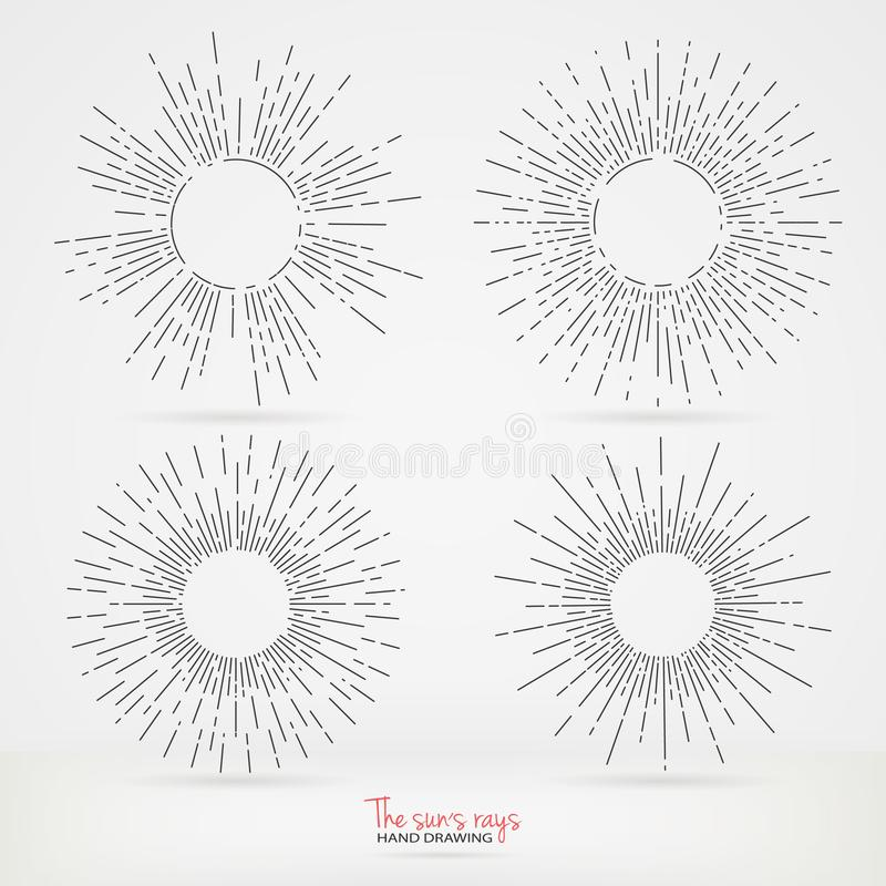 Sun burst vintage shapes collection set of sun ray frames retro vector design elements. solemn vintage ribbon for inscription. vector illustration