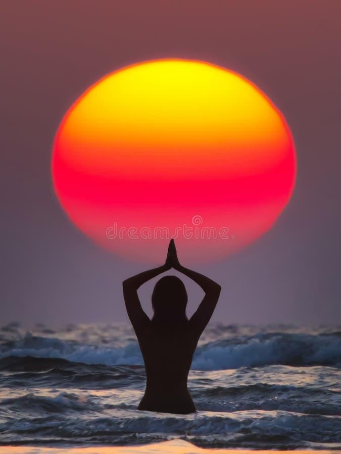 Sun salutation royalty free stock photography