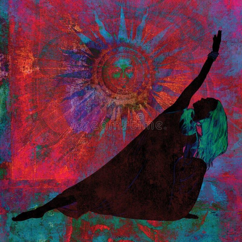 Sun Salute Shadow Woman royaltyfria bilder