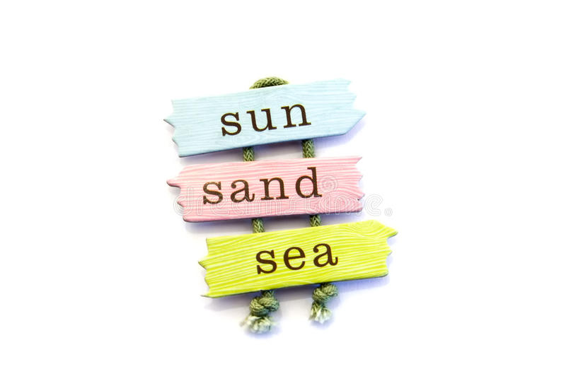 Sun, Sand, & Sea. Sign Isolated on a White Background stock photography